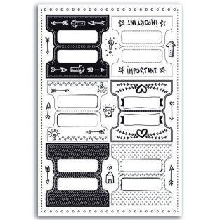 24 onglets cartonnés pour Bullet Journal - noir & blanc