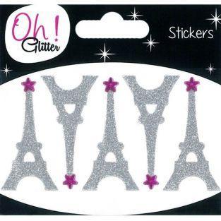 5 stickers Tour Eiffel à paillettes - argent