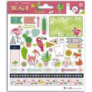 Stickers Animaux et Cactus - 15 x 15 cm