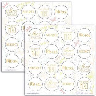 Stickers ronds dor?s Merci - 15 x 15 cm