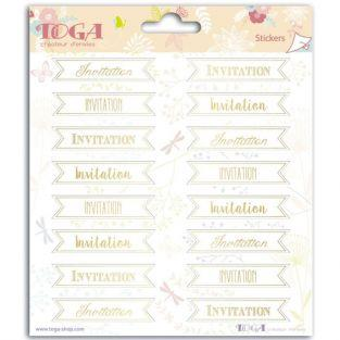 Stickers invitation 15 x 15 cm - golden
