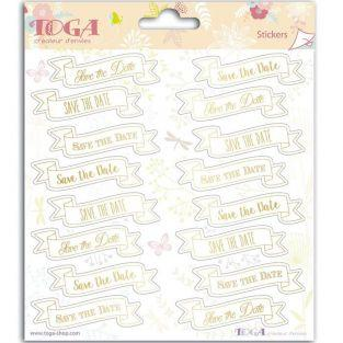 Stickers Mariage Save the date - 15 x 15 cm