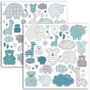 Stickers Naissance petit garçon - 15 x 15 cm
