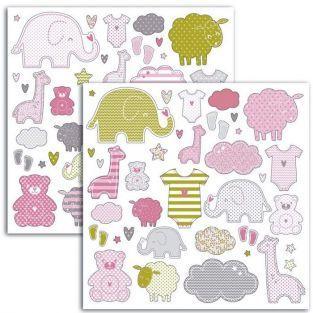 Stickers Naissance petite fille - 15 x 15 cm