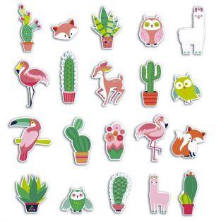 20 formes découpées pour scrapbooking - Cactus et animaux