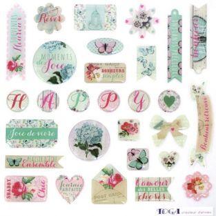 29 scrapbooking epoxy stickers - Shabby Love