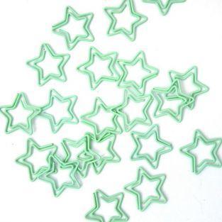 20 clips de papel estrella - agua verde