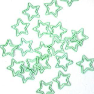 20 star paperclips - lime green