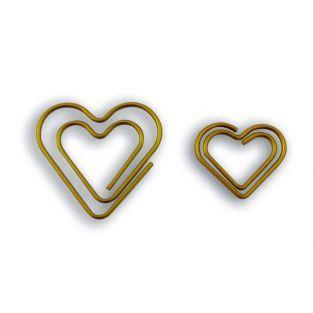 9 clips de papel corazón - dorado