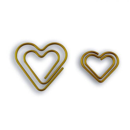 9 hearts paperclips - golden