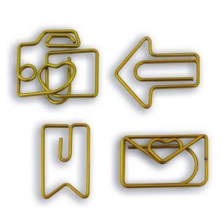 8 clips de papel originales - dorado