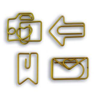 8 fancy paperclips - golden