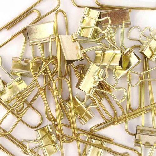 15 trombones et mini clips XL - doré