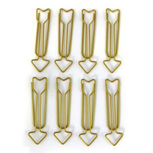 8 clips de papel flechas XL - dorado