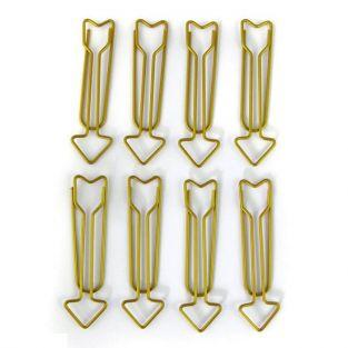 8 XL arrows paperclips - golden