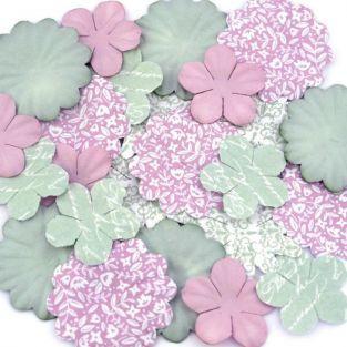 25 fleurs imprimées à motifs Shabby Love - rose et vert