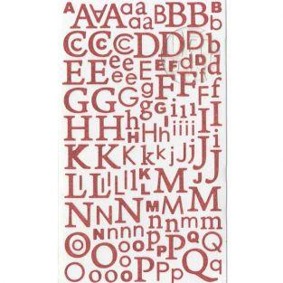Glitter-Red Alphabet sticker