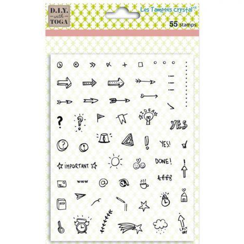 Tampons transparents Icones pour Bullet journal - 14 x 18 cm