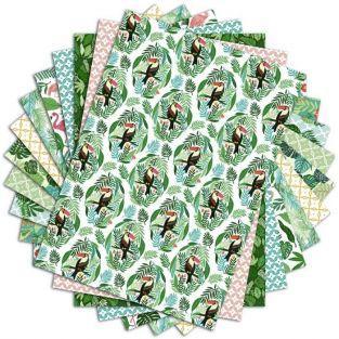 48 hojas de scrapbooking selva - A4