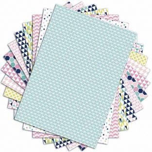 48 feuilles à scrapbooking géométrique pastels - A4