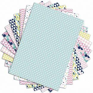 48 hojas de scrapbooking geométricas pastel - A4