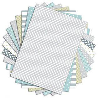 48 hojas de scrapbooking Menta, gris y almendra - A4