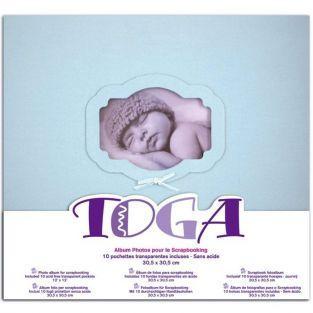 Album photo de naissance bleu - 30 x 30 cm