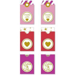Etiquetas adhesivas Made with love - Rosa-rojo