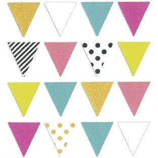 16 multi-colored pennant stickers 2,1 x 2,3 cm