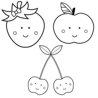 Kit 3 wooden pads - Adorable fruits