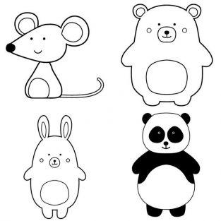 Kit 4 wooden pads - Adorable animals