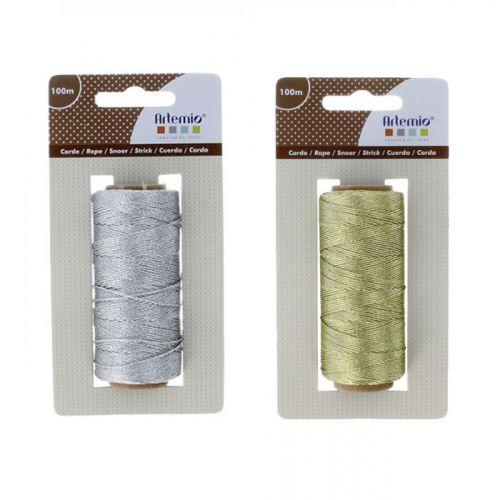 2 spools of string 100 m - silver & gold