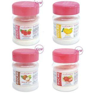 Kit 4 flavored sugars - strawberry, raspberry, lemon, coconut