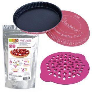 Coffret de préparation pour tarte - Moule, découpoir et pâte sablée
