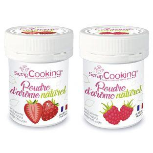 Ar?mes alimentaires naturels en poudre - fraise et framboise - 2 x 15 g