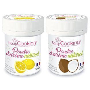 Arômes alimentaires naturels en poudre - citron et noix de coco - 2 x 15 g