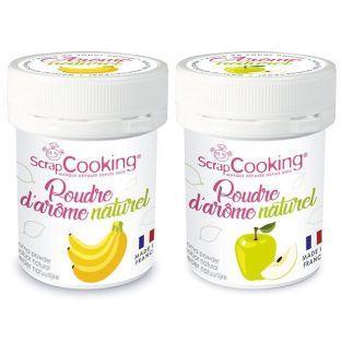 Arômes alimentaires naturels en poudre - banane et pomme - 2 x 15 g