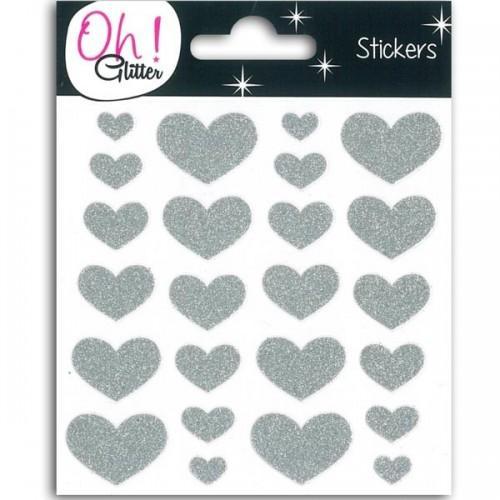 Stickers Coeurs à paillettes - argent