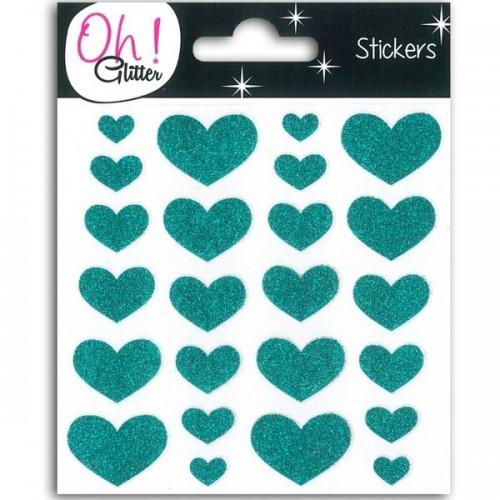 Stickers Coeurs à paillettes - turquoise