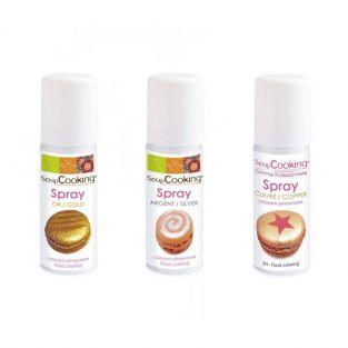 3 colorantes alimentarios en spray 50 ml - dorado, plateado, cobrizo