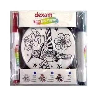 Caja de regalo DIY - 4 posavasos redondos de cerámica + 4 marcadores