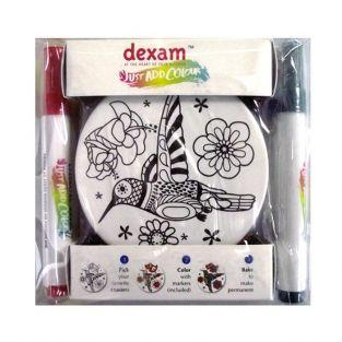 DIY box - 4 ceramic coasters + 4 markers