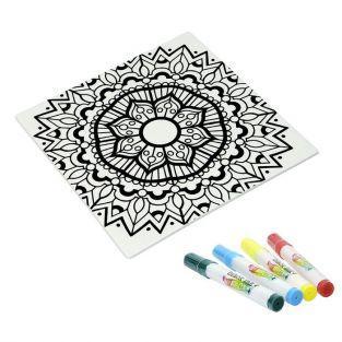 Set de regalo - Bajo platos cuadrado de cerámica + 4 marcadores