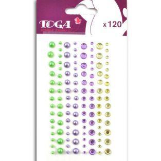 120 perles violet-vert