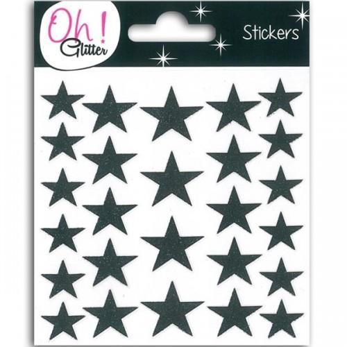 Stickers étoiles à paillettes - noir