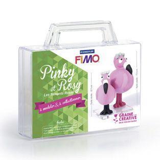 Figuras de arcilla polimérica - Flamencos Pinki & Rosi