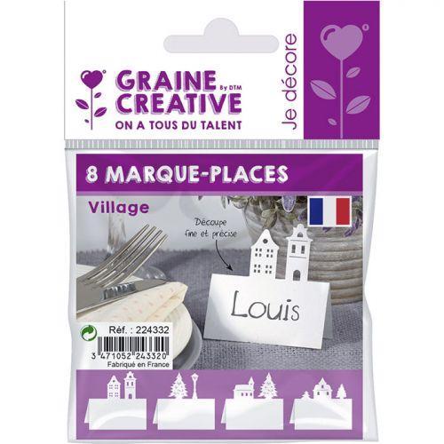Marque places pour table de Noël - Village
