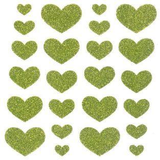 Stickers Coeurs à paillettes - vert