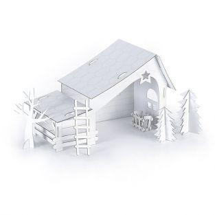 Crèche pré-découpée en carton à construire soi-même 29 x 19 x 14 cm