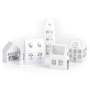 5 maisons blanches de décoration à monter soi-même 19 x 5,5 x 4,5 cm